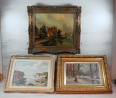 Three paintings in decorative frame