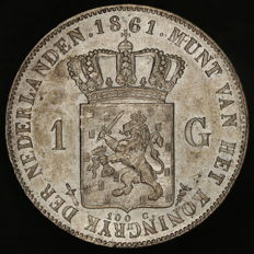 The Netherlands - 1 guilder 1861 Willem III - silver