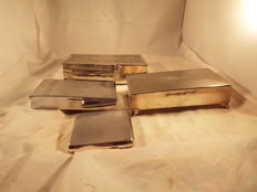joblot of silverplated cigarette case and boxes
