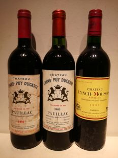 1983 Chateau Grand Puy Ducasse, Pauillac 5e Grand Cru Classé & 1996 Chateau Grand Puy Ducasse, Pauillac 5e Grand Cru Classé  & 1995 Chateau Lynch Moussas, Pauillac 5e Grand Cru Classé  - 3 bottles total