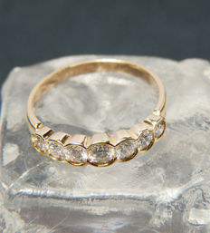 18K Gold Memory / Memoire  Ring with 7 Diamonds of c. 1,5 ct  RS 57/ 18mm ∅ / US 8