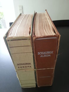 World - collection starting at classic in two old Schaubek albums