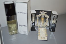 Chanel - box with lot of miniatures + perfume Cristalle 100 ml + pendant