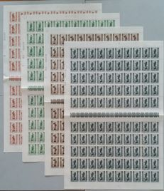 "Belgium 1943 - Fight against tuberculosis ""Trades"" in complete sheets with 3 variants - 100x OBP 615/622"