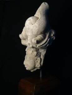 Head of Hindu Deity with Decorative Surround- Grey Sandstone - 28 x 11 x 10cms