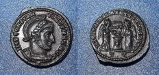 Roman Imperial - Constantine the Great, Follis circa A.D. 318-319,  Two Victories standing facing, together holding shield inscribed VOT PR in two lines on altar embossed with cross;