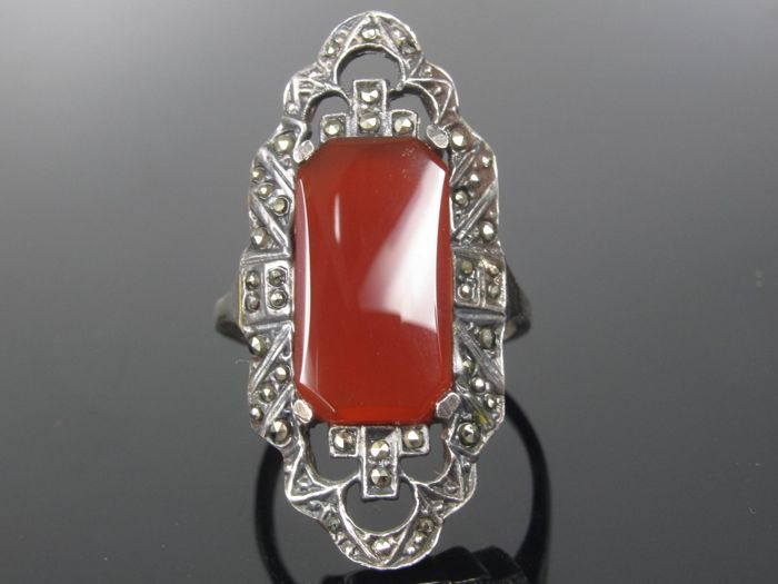 Antique carnelian marcasite silver ring