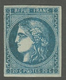France - 20 c greenish-blue - Calves signed, Yvert 46 b