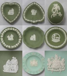 Wedgwood Porcelain - Lot of 7 Vintage Items - Egg Shape Box, Trinket & Commemorative Dishes
