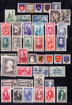 France 1906-1948 – collection of stamps, 7 pages – Yvert between no. 134 and 802.