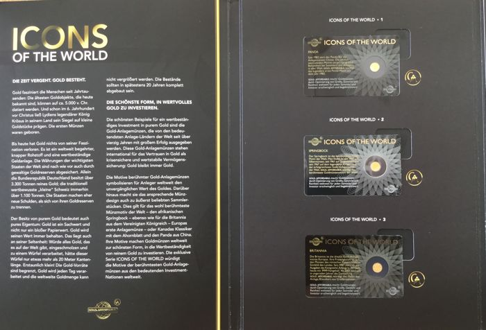 Icons of the World 2015: 15 gold coins in certificate blister in collection binder