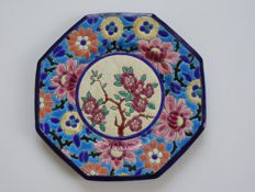 Longwy Enamels - Octagonal dessert plate trimmed with a floral composition