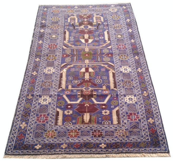 Vintage Afghan Hand Knotted Balouch Herati Area Rug 200 cm x 107 cm