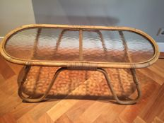 Designer unknown - vintage rattan side table with semi-transparent glass