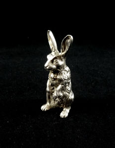 Silver salt cellar in the shape of a hare, Ludwig Heresheimer, Hanau, first half 20th century