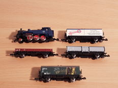 Märklin Z - From set 81561 - Steam locomotive BR 74 with 4 freight carriages