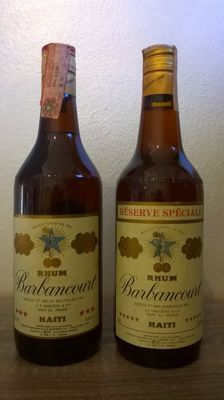 Two old bottles of Rhum Barbancourt: 'Trois Étoiles' & 'Réserve Spéciale' - bottled in the 1980s (Italian import)