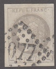 France - 4 c grey - cancelled, Yvert 41b