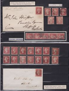 Great Britain – selection of stamps and postmarked envelopes, variety with issues of the same sheet and repetitions