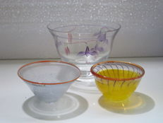Kosta Boda - Three art glass bowls designed by different artists.