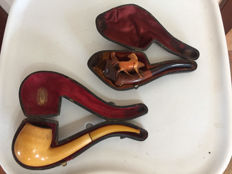 2x Meerschaum pipes - 19th century
