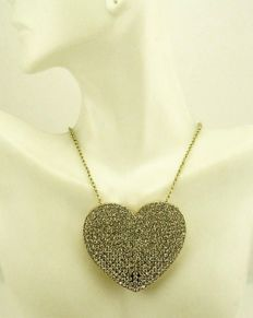 Joan Rivers statement large heart pendant necklace
