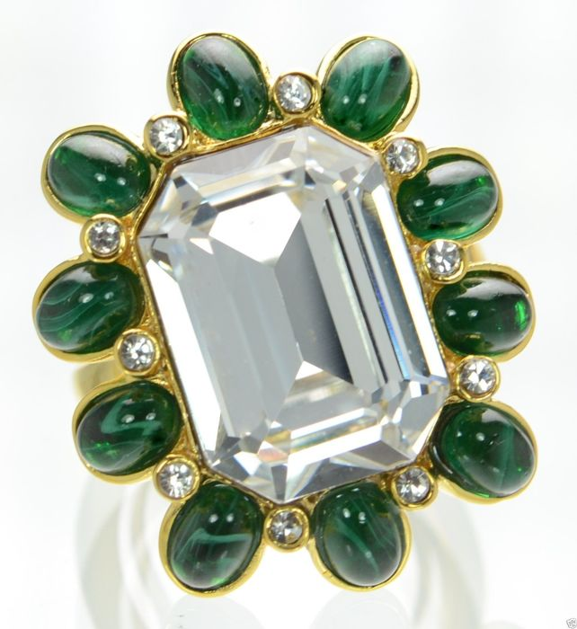 Kenneth Jay Lane's gold tone crystal emerald duchess cocktail ring