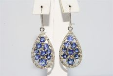 "6.45 ct gold earrings with sapphires & diamonds ""no reserve"""