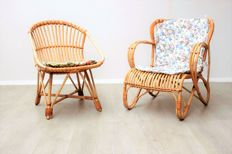 Manufacturer unknown - set of vintage rattan armchairs