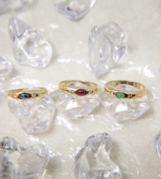3 X 14K Gold Ring with 6 diamonds of c. 0.18 ct ruby, sapphire, emerald