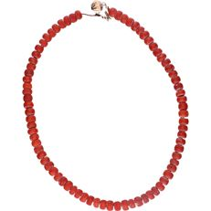 14 kt – Yellow gold precious coral necklace – Length: