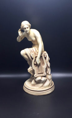 Alfred Stellmacher - Girl with Harp figurine - Bisque Porcelain ,1859-1894