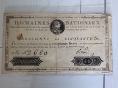 France - assignat of 50 livres domaines nationaux - Pick A34