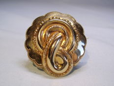 Victorian gold brooch in 14 karat yellow gold original, around 1880