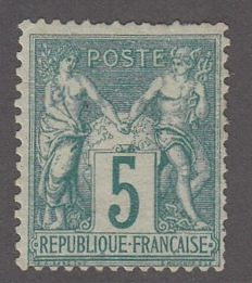 France - 5 c green type 1, signed Brun - Yvert 64