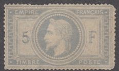 France - 5F violet-grey - signed Calves - Yvert 33 with flaws.