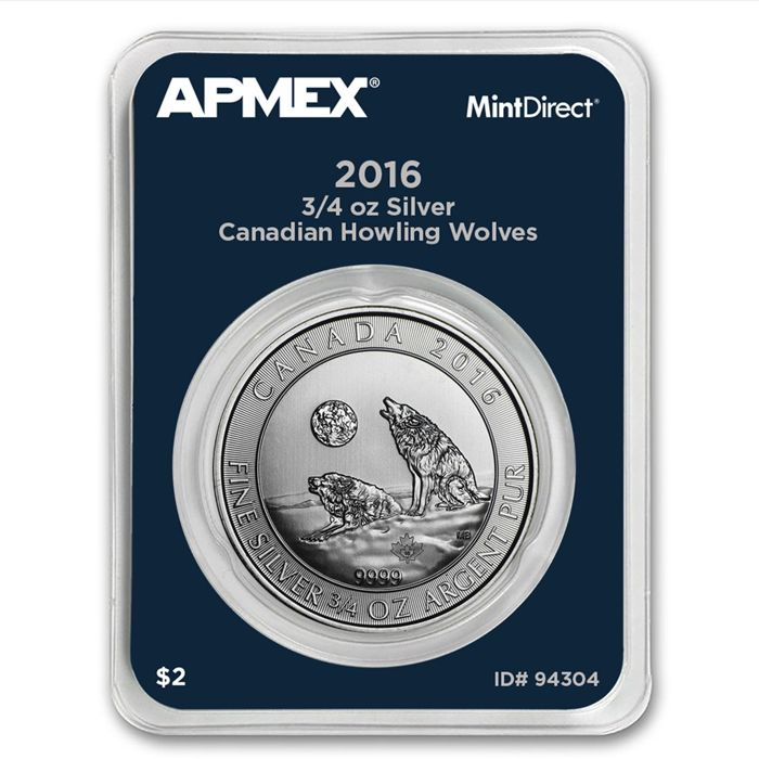 $2 - Royal Canadian Mint - Howling Wolf 2016 - 3/4 oz 999 silver - silver coin - MintDirect certified quality - with certificate