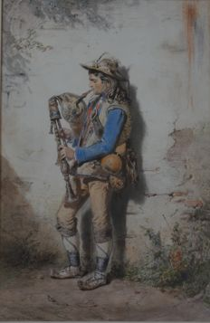 Carl GOEBEL (1824-1899) Italian Troubadour playing a zampogna