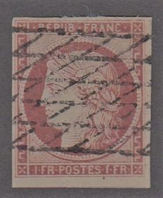 France - 1 franc crimson grid-cancelled over the whole stamp - Yvert 6