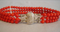 3 row coral bracelet with art deco clasp
