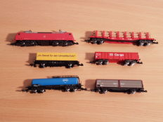 Märklin Z - from starter set 81861 - E-loc BR 120 with 5 freight carriages of the DB