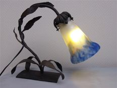 Lamp with wrought-iron and tulipe Muller Frères - GV De Croismare