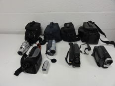 5 camcorders with bag and accessories