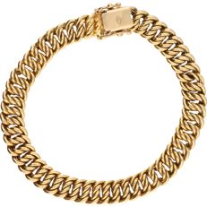 18 kt - Yellow gold curb link bracelet - length: 18.5 cm