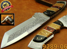 Beautiful Rare Hand Engraved Blade Hunting Knife/ J2 Carbon Steel WOW! (9289-6