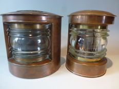Two copper ship lamps