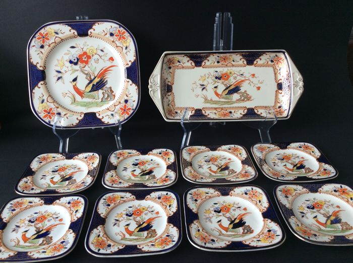 Woods Burslem - Eleven piece sandwich set,Grafton Imari pattern