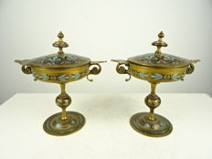 Two bronze Champlevé tazza - France - ca. 1850
