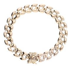 14 kt - Yellow gold elegant wide link bracelet - Length: 19.5 cm