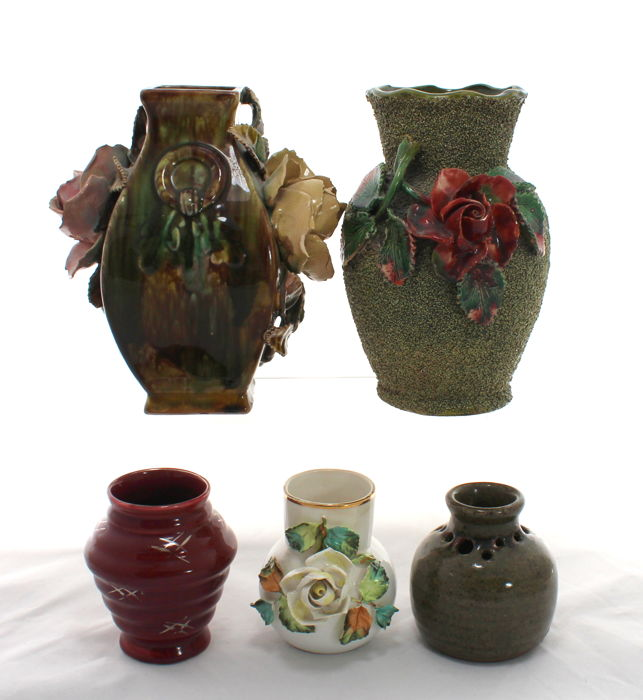 Lot of 5 Vintage Porcelain & Ceramic Vases Including Kensington Pottery - Encrusted Roses
